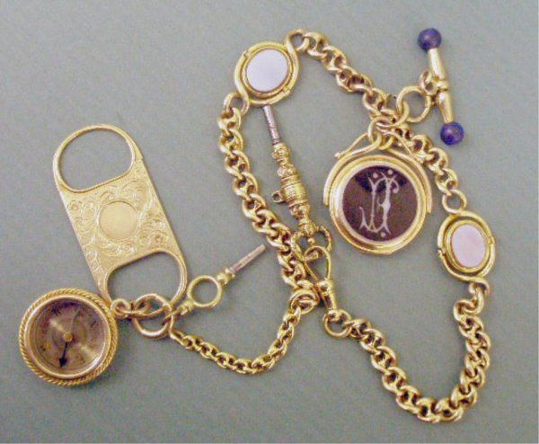 2123: Victorian 14k Gold Watch Chain w/Fobs