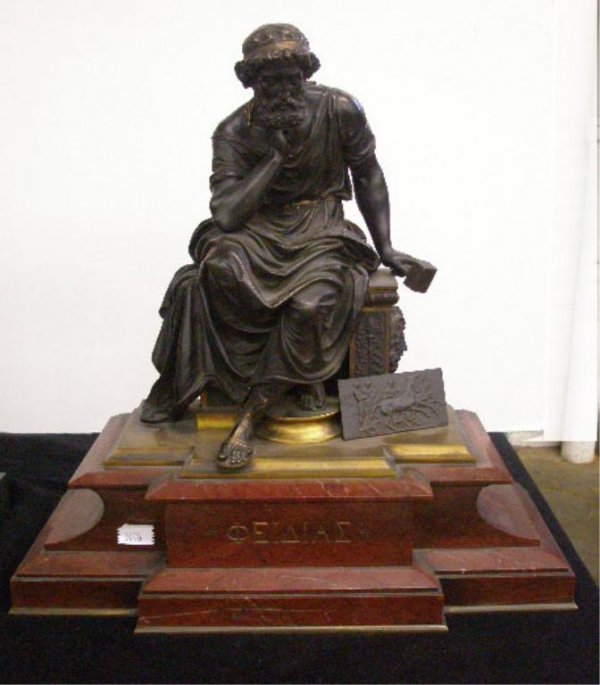 2266: 19th c. French Bronze & Marble Sculpture