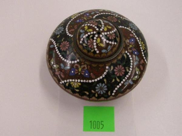 1005: 19th c. Chinese Cloisonne Small Urn