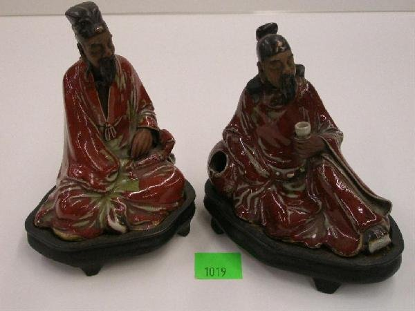 1019: Chinese Flambe Glazed Pottery Figures