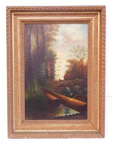 19th C Farm Scene Painting