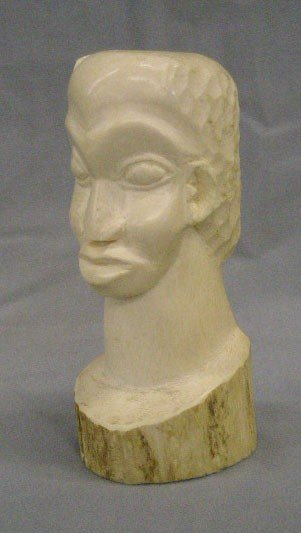 African Carved Ivory Bust of Man