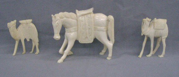 3 Carved Ivory Animals