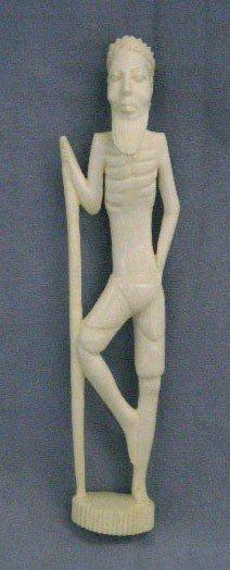 African Carved Ivory Warrior