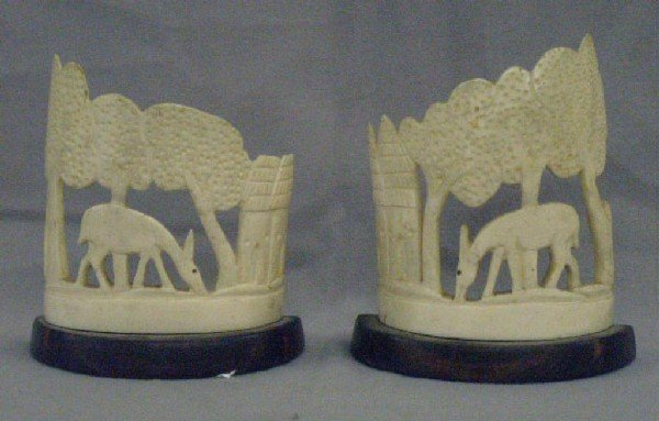 Pair African Carved Ivory Bookends