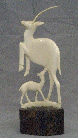 African Carved Ivory Nursing Gazelle