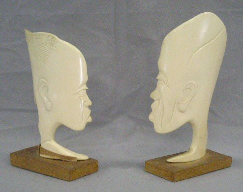Pair African Carved Ivory Masks