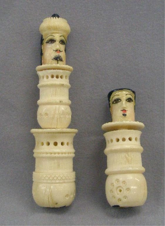 Pair of Chinese Polychrome Carved Bone Finials