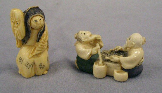 2 Chinese Carved Ivory Netsukes
