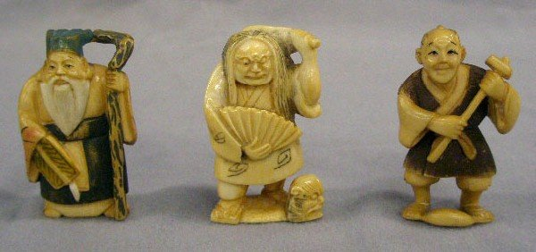 3 Chinese Carved Ivory Netsukes