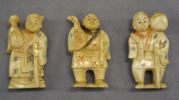 3 Chinese Carved Ivory Polychrome Figures
