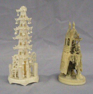 2 Carved Ivory Sculptures