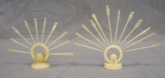2 Oriental Carved Ivory Hors d'oeuvres
