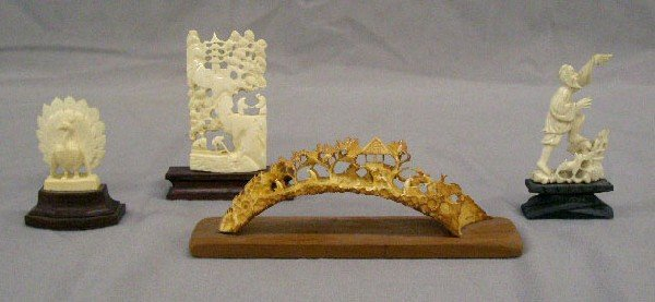 4 Chinese Carved Ivory Sculptures