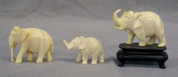 3 Carved Ivory (?) Elephants