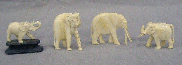 4 Carved Ivory Elephants