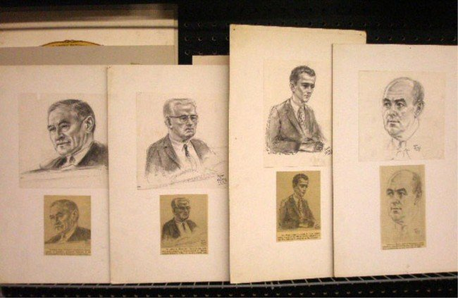 1: Freda Reiter Signed Courtroom Art Drawings