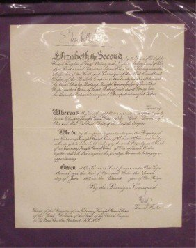 23: Elizabeth II & Philip Signed Grant of the Dignity