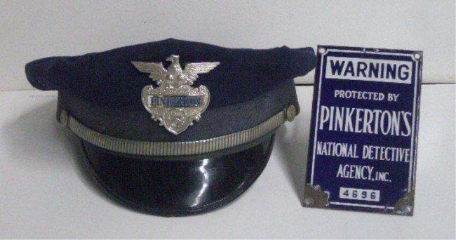 193: Vintage Pinkerton's Enamel Sign & Guard's Hat