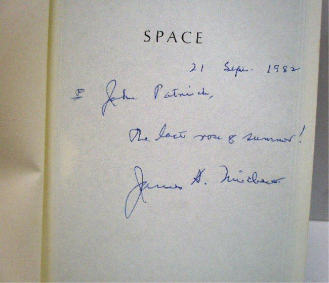268: Signed James Michener Space First Ed. Book - 3