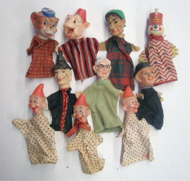 10: 1960's Character Head Hand Puppets