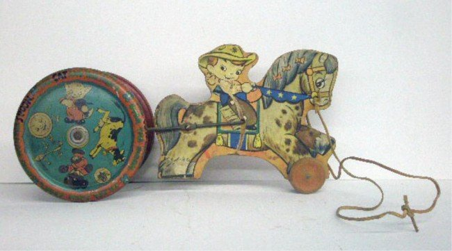 24: 1950's Gong Bell Pull Toy