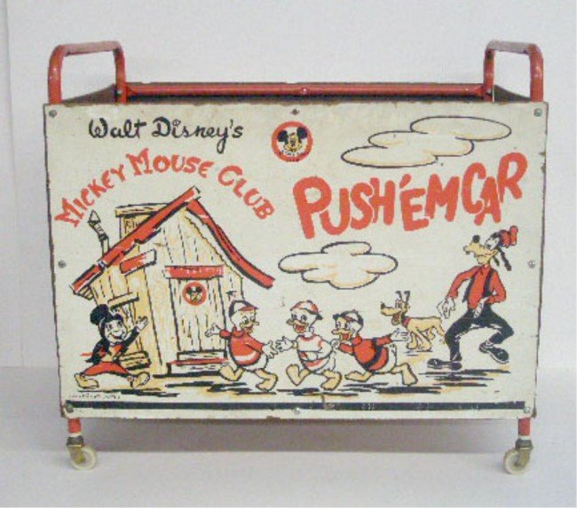 45: 1950's Mickey Mouse Club Push Em Car