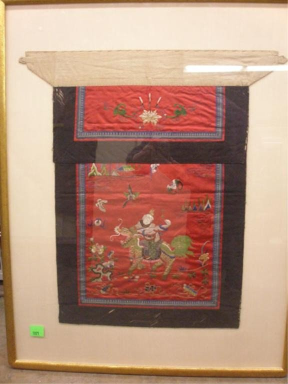 1001: 19th c. Chinese Silk Apron