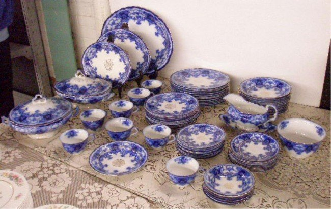 2278: Maddock & Sons Flow Blue Dainty China Set