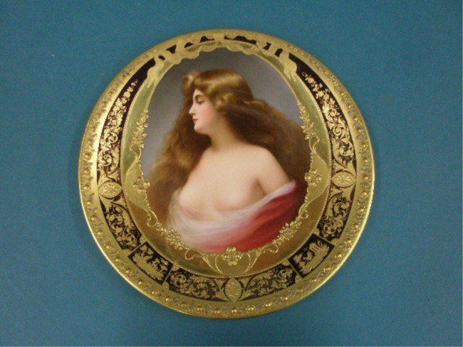 2396: Dresden Porcelain Female Portrait Plate