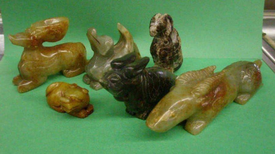 1003: Six Chinese Soapstone & Serpentine Animal Craving