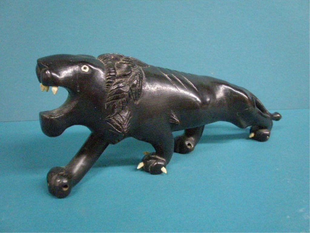 1011: African Carved Ebony Lion