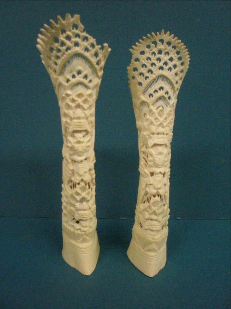 1012: Pr Oriental Bone Carved Vases