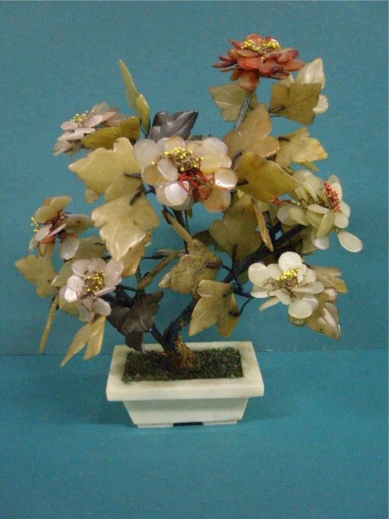 1013: Chinese Hardstone Floral Tree