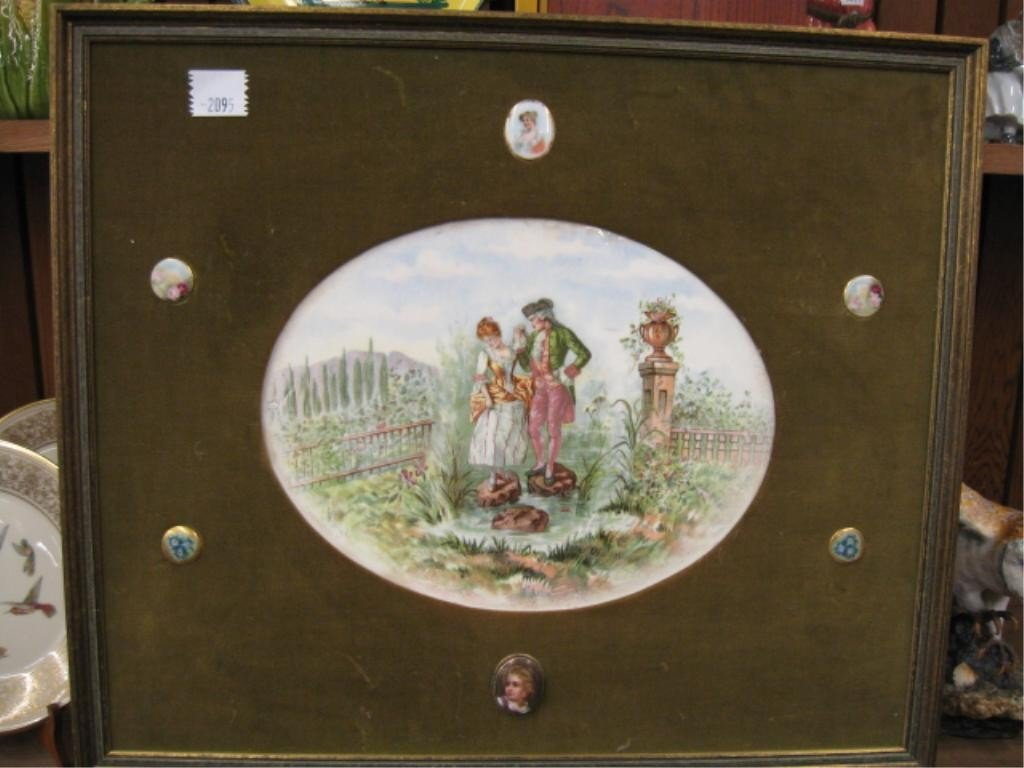 2095: Framed Porcelain Courting Scene Plaque & Pins