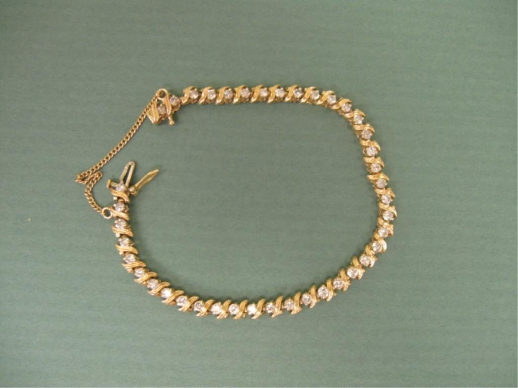 2104: 14K YG Diamond Tennis Bracelet