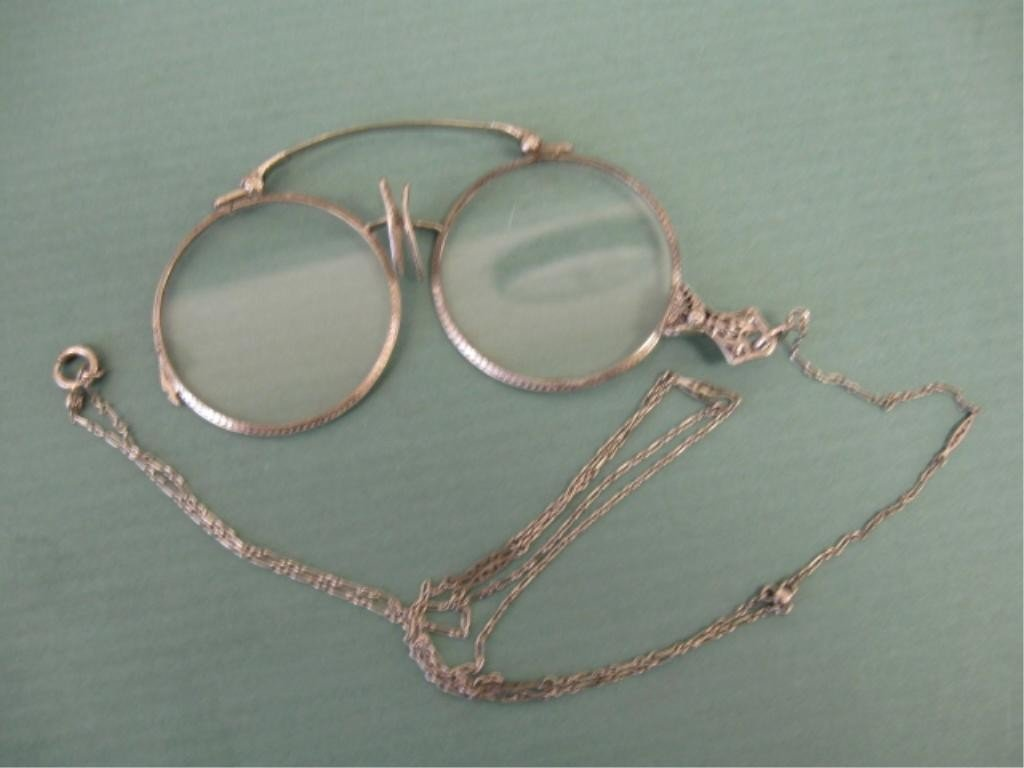 2114: Sterling Deco Lorgnette w/Chain