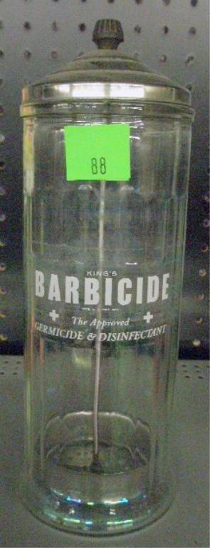 88: Vintage Barbicide Glass Comb Jar