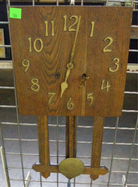 106: Oak Arts & Crafts Style Wall Clock