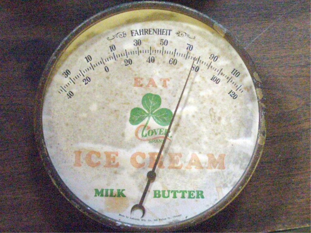109: Vintage Clover Brand Ice Cream Thermometer