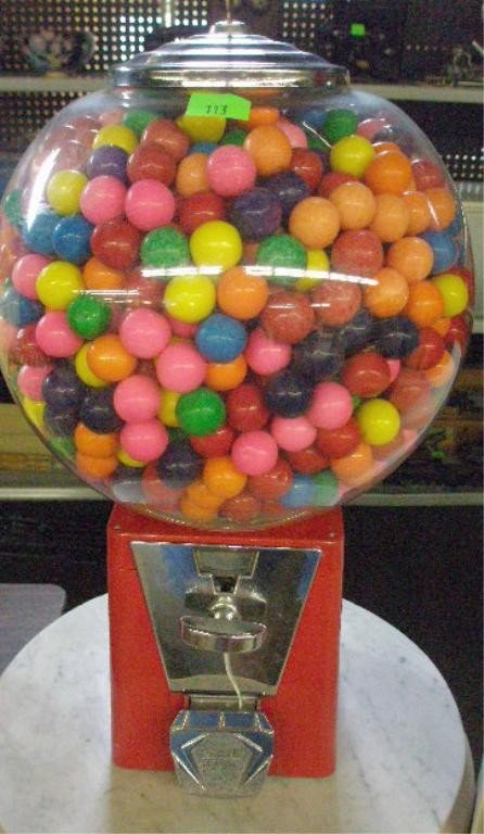 113: Vintage 25 Cent Gumball Machine
