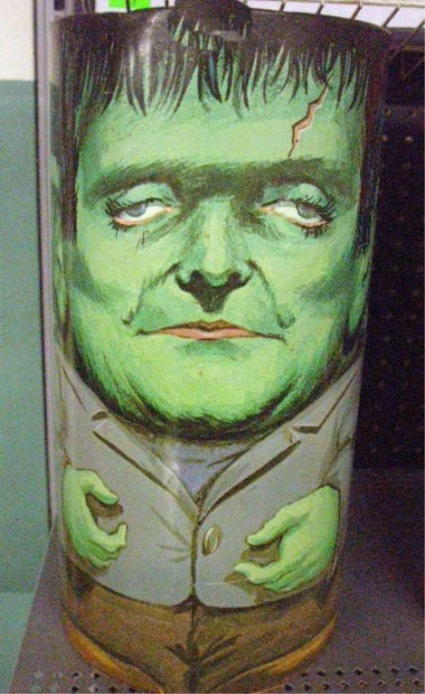 135: 1960's Chein Frankenstein Trash Can