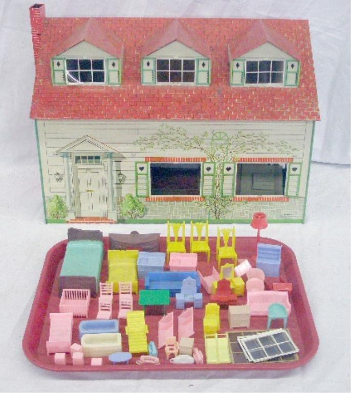 234: 1950's Meritoy Tin Dollhouse & Furniture