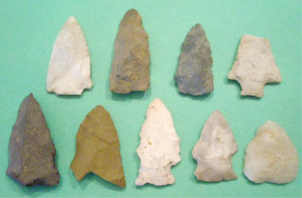 1007: 9 American Indian Spear & Arrow Projectile Points