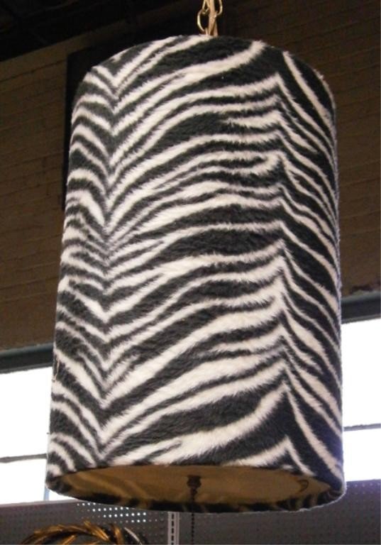 1430A: 1960's Zebra Shag Fabric Swag Lamp - 2
