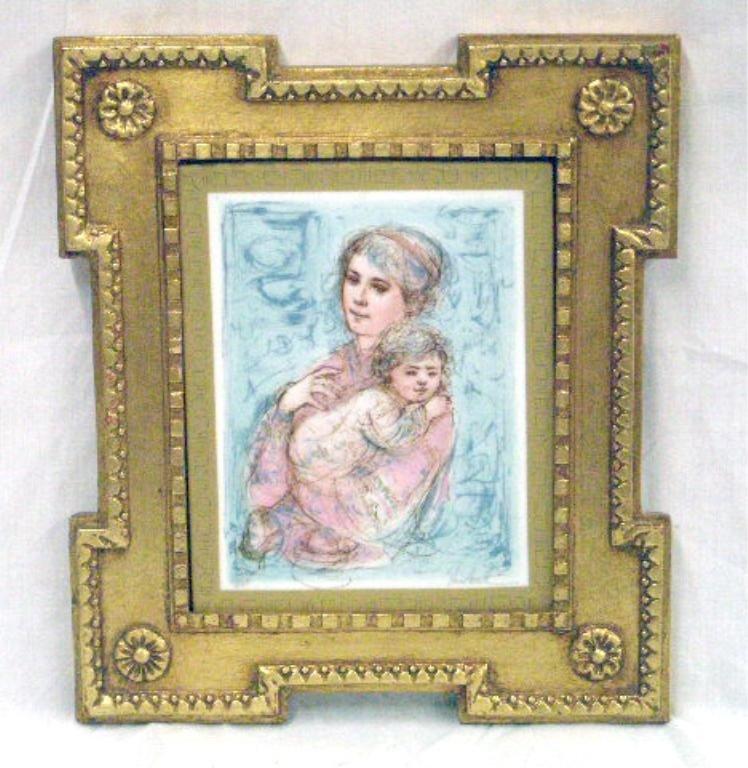2064: Edna Hibel Painted Porcelain Plaque