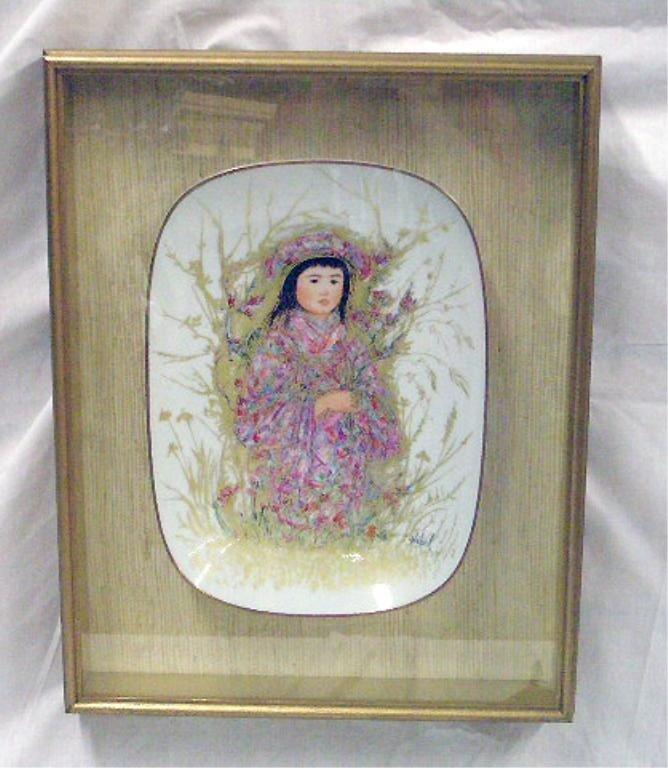 2065: Edna Hibel Painted Porcelain Wall Plaque