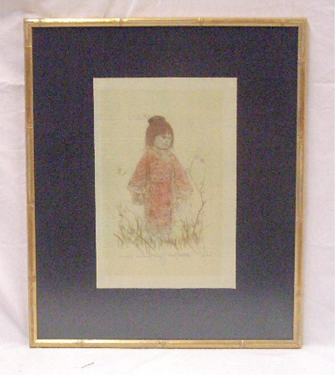 2074: Edna Hibel Colored Lithograph