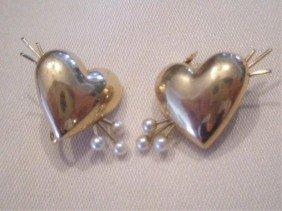 14k YG Heart Earrings