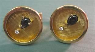 2210 14k Yellow Gold  Diamond Cufflinks